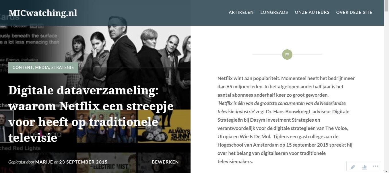 Freelance tekstschrijver arnhem ede marije catsburg digitale dataverzameling netflix