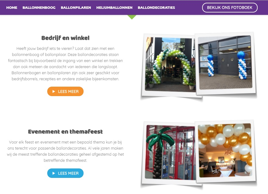 webteksten schrijven ballonnenboog bestellen tekstschrijver arnhem wageningen veenendaal