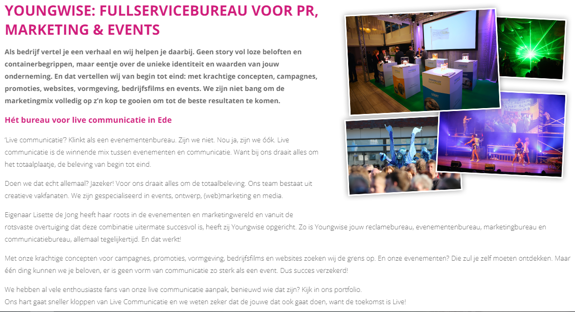 tekstschrijver ede youngwise marketingbureau pr bureau veenendaal gelderland